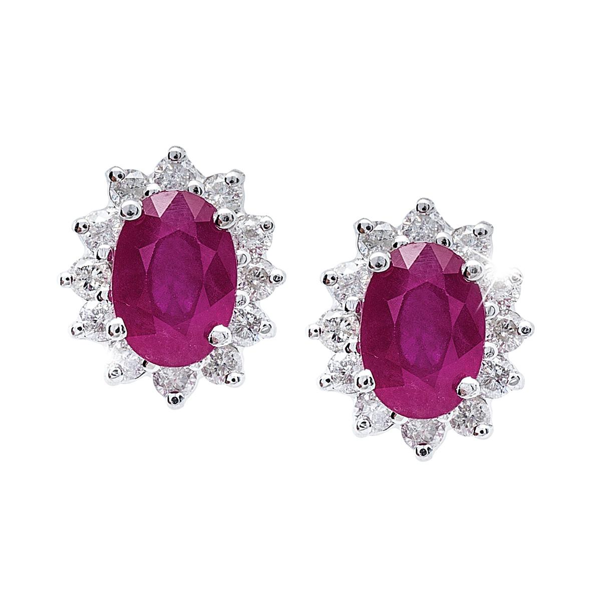 Vintage 2.48 CTW Ruby & Diamond Earrings