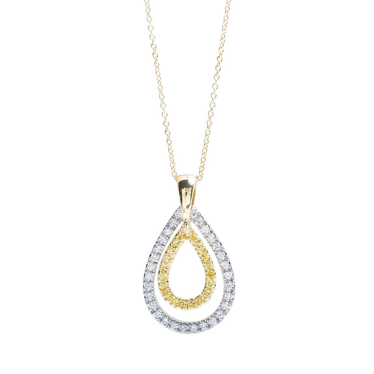 Vintage 0.50 CTW White & Yellow Diamond Necklace