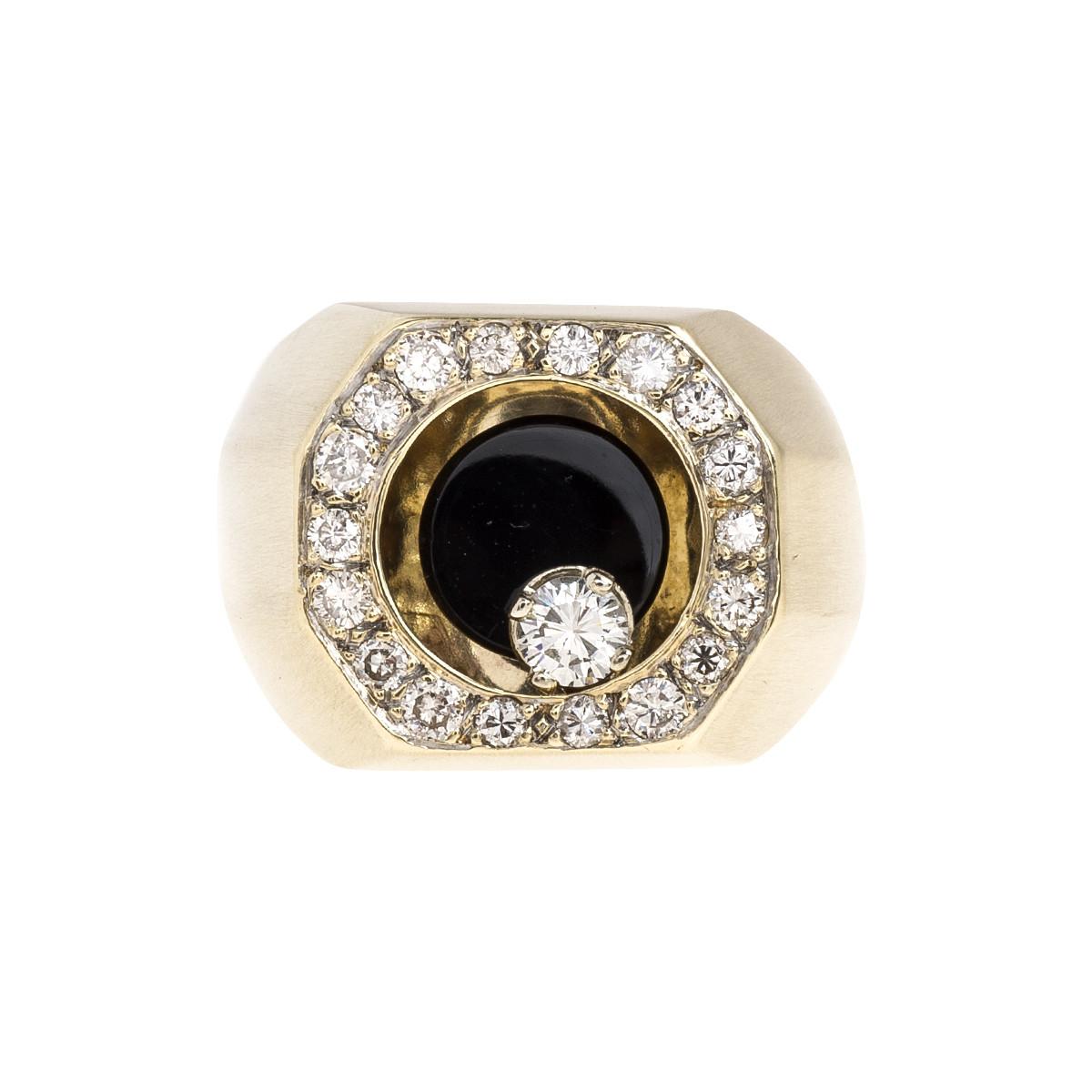 Vintage 1.45 CTW Diamond & Black Onyx Halo Ring