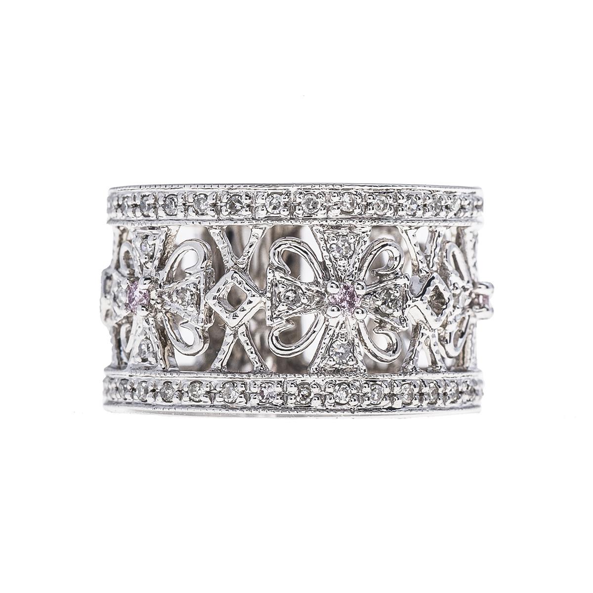 Vintage 0.28 CTW White & Pink Diamond Cross Ring