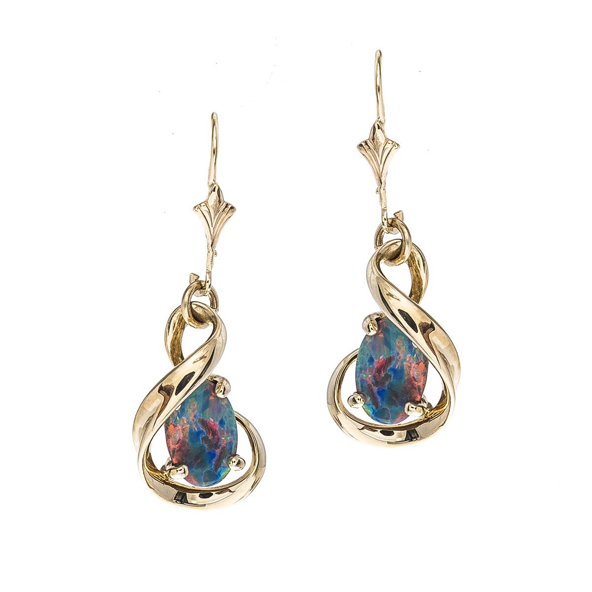 Vintage Opal Twist Dangle Earrings
