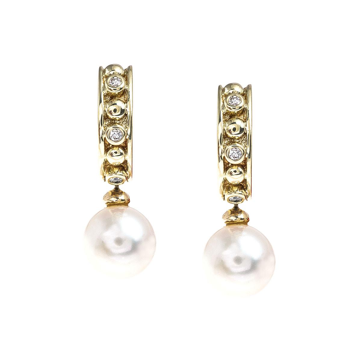 Vintage 0.18 CTW Diamond and Cultured Pearl Hoop Earrings