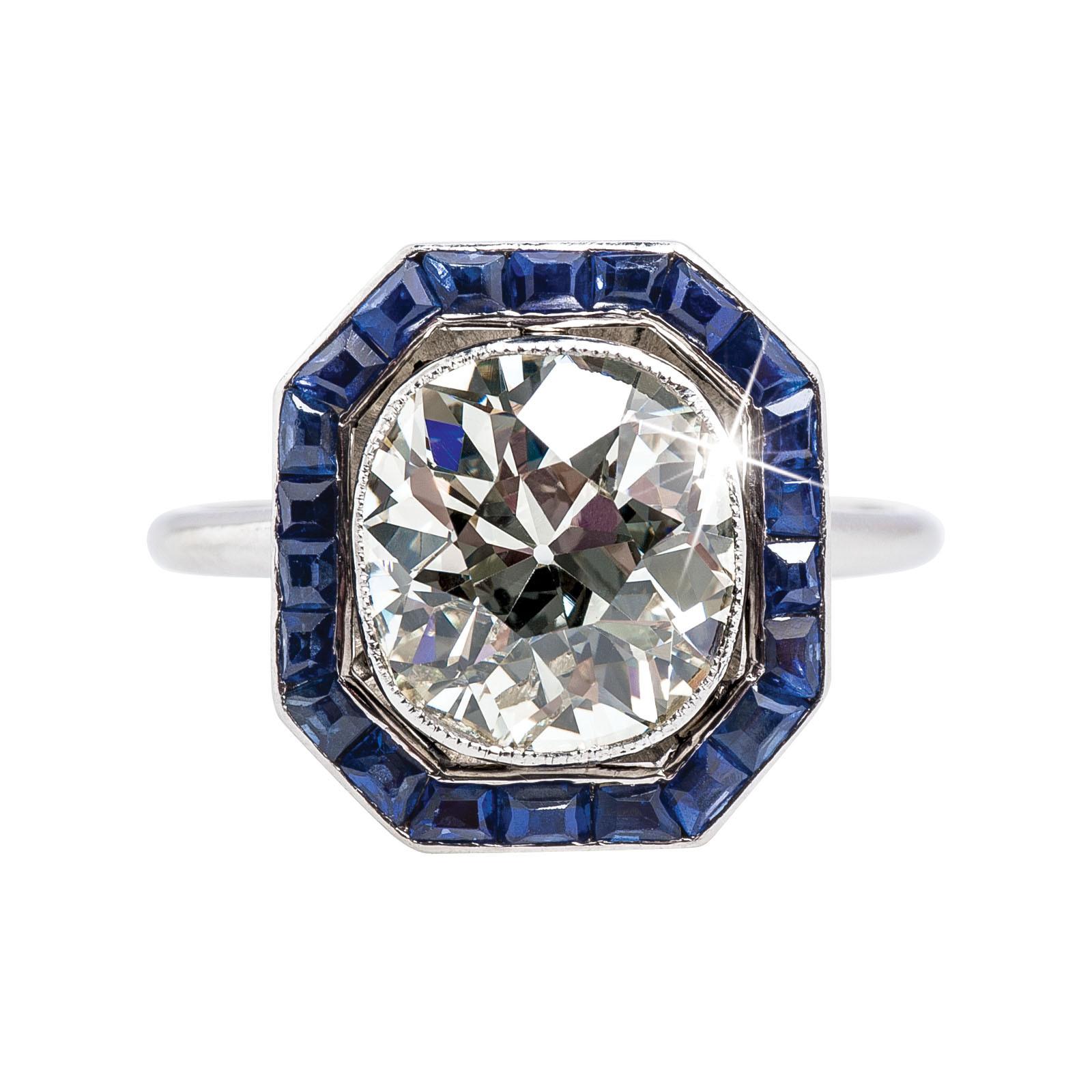 Vintage 3.66 CTW Diamond & Blue Sapphire Ring