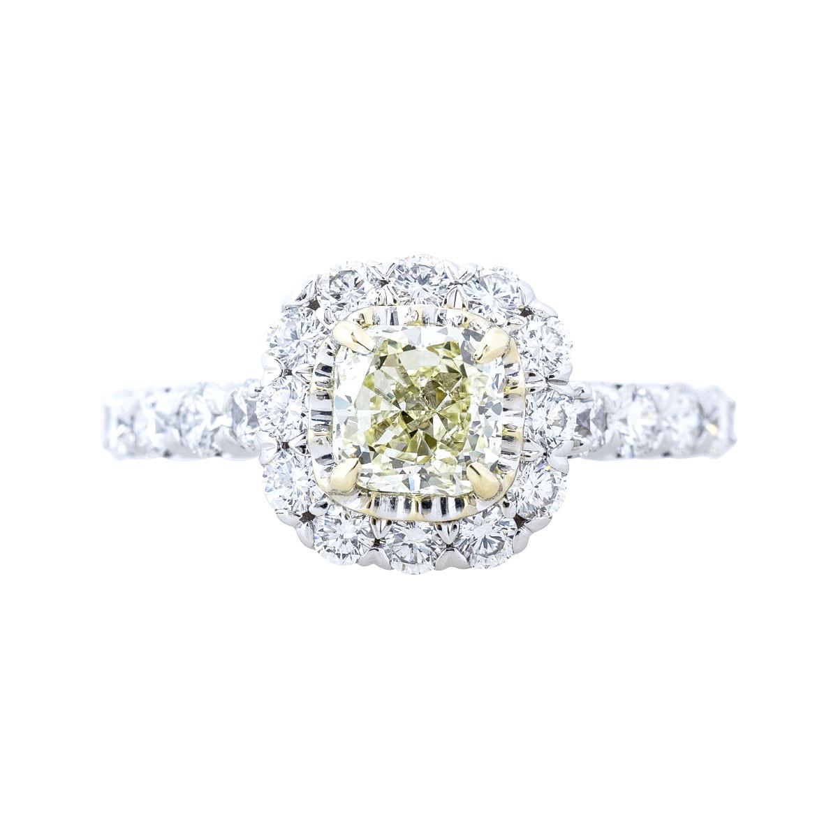Vintage 1.60 CTW White & Yellow Diamond Engagement Ring