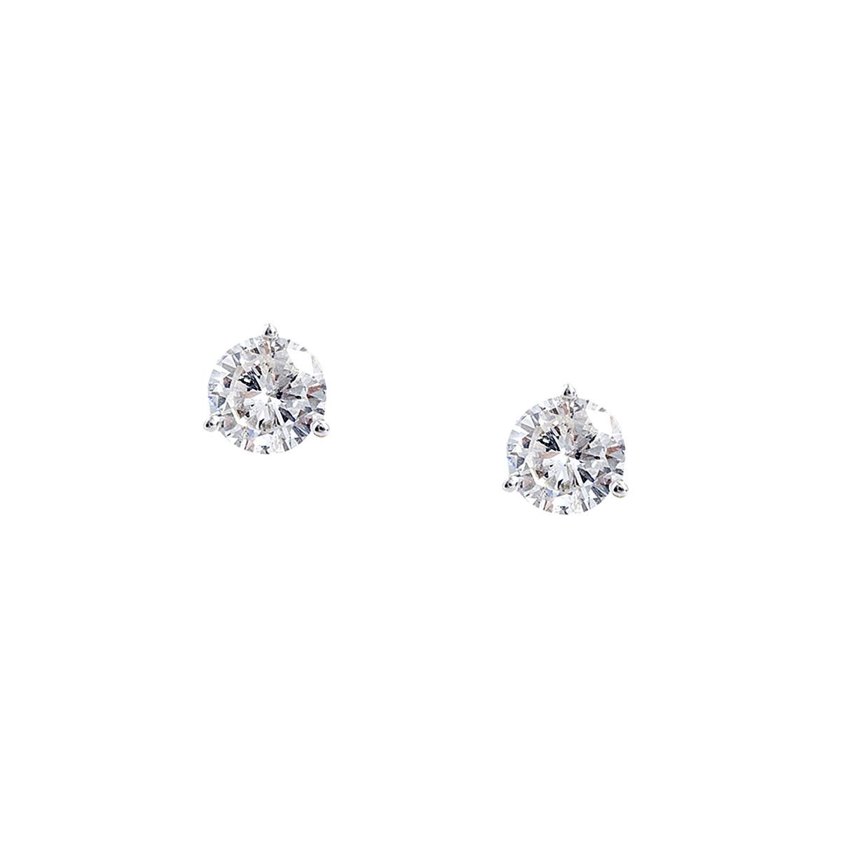 Vintage 1.24 CTW Diamond Stud Earrings