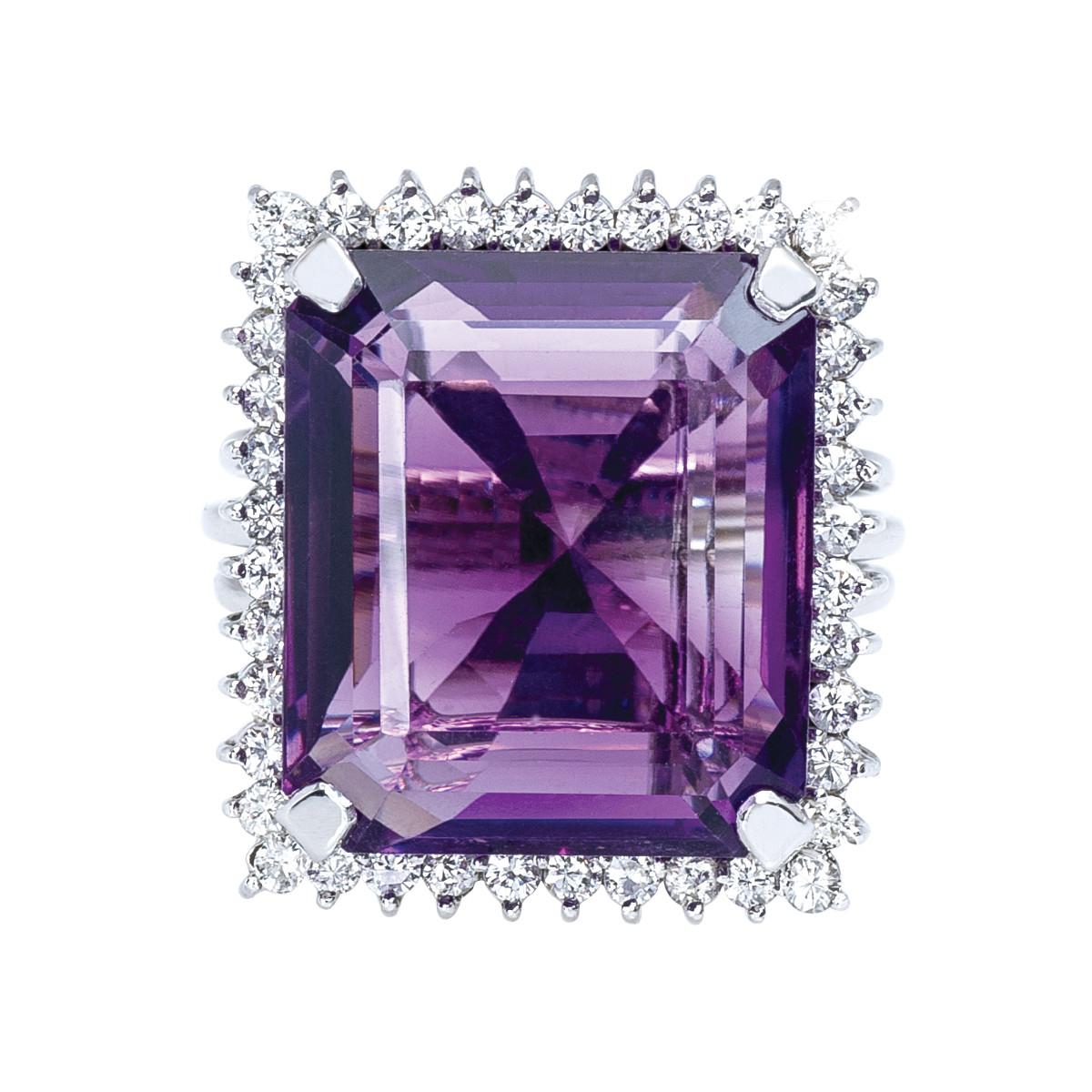 Vintage 15.30 CTW Amethyst & Diamond Ring