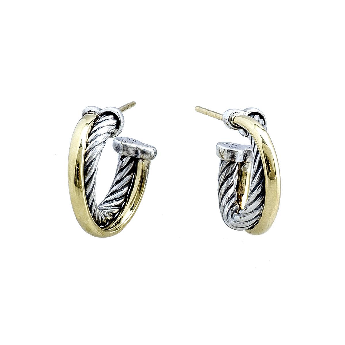 Vintage David Yurman Crossover Hoop Earrings
