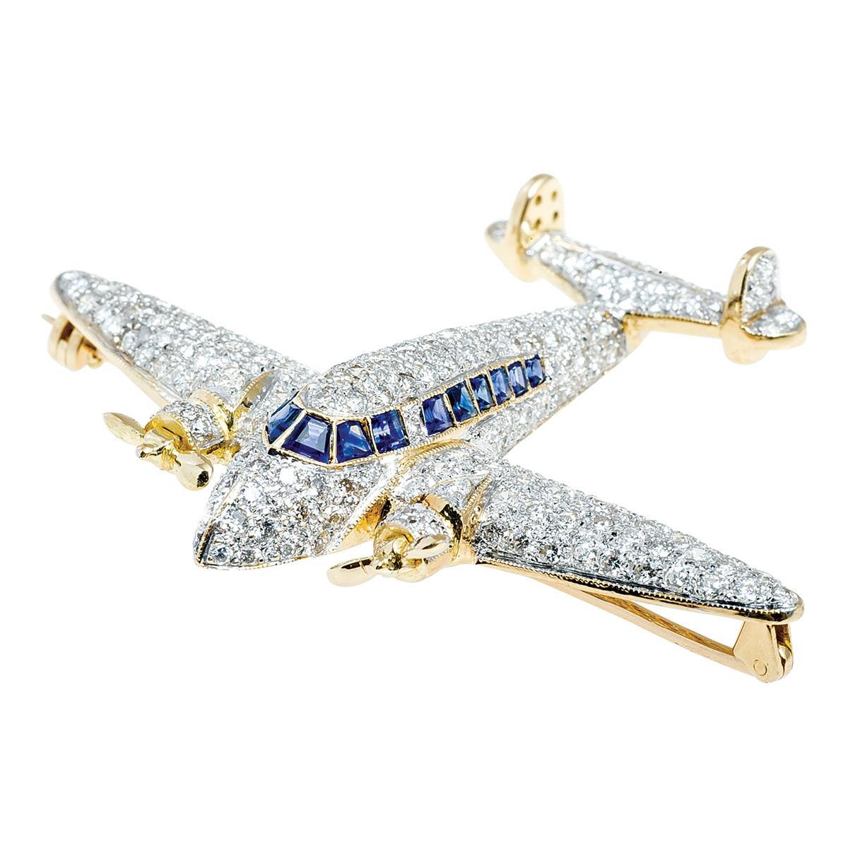 Vintage 2.28 CTW Diamond & Sapphire Airplane Brooch