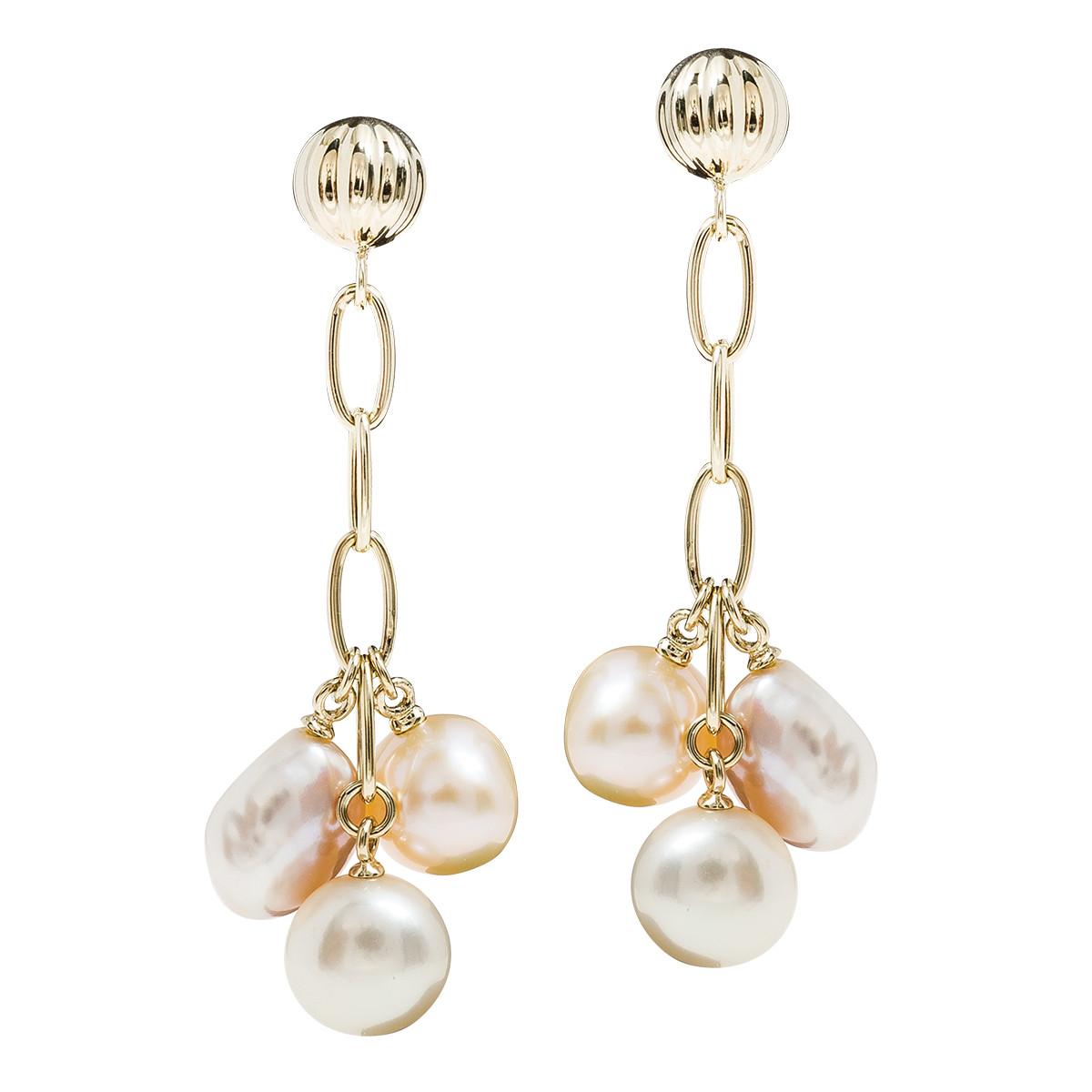 Vintage Cream & Pink Cultured Pearl Earrings