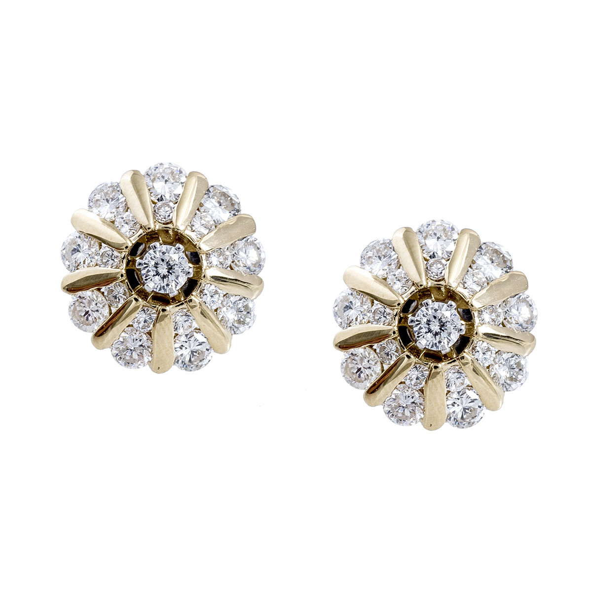 Vintage 1.45 CTW Diamond Stud Earrings & Jackets