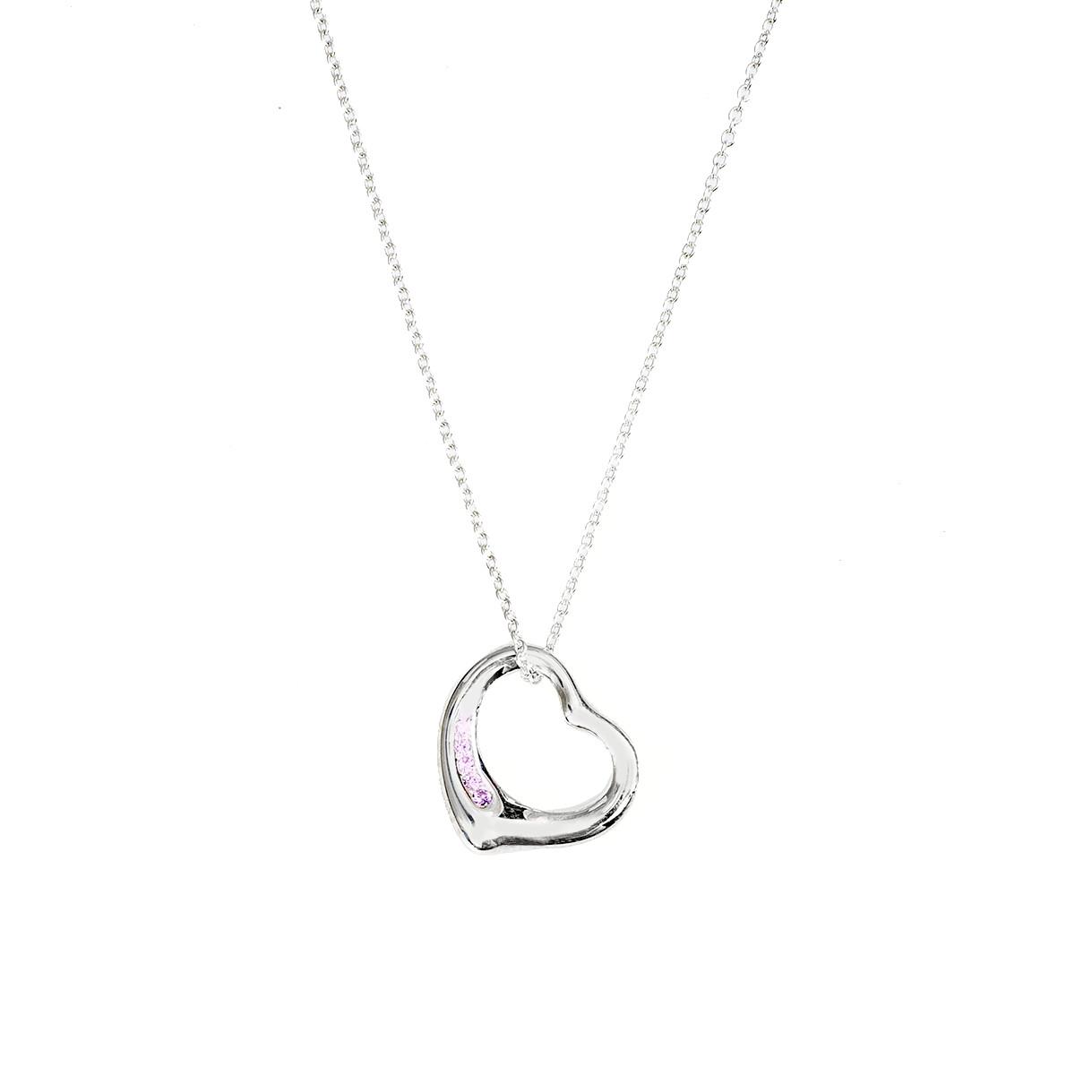 8bec04559 Vintage Tiffany & Co. Elsa Peretti Pink Sapphire Open Heart Pendant Gallery  Image