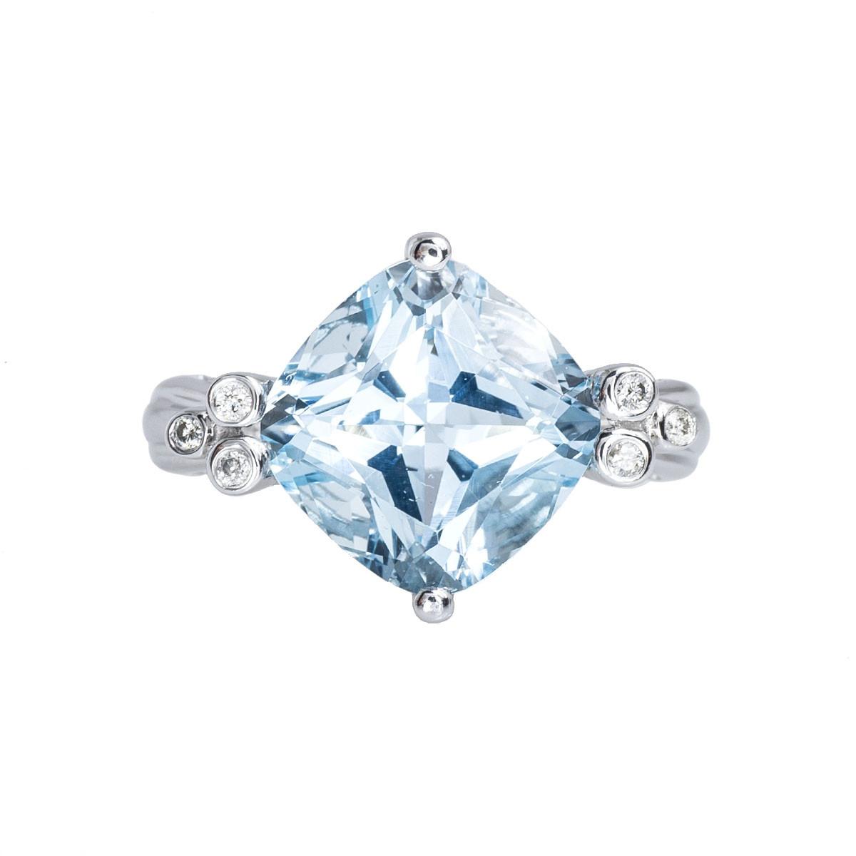 Vintage 6.86 CTW Blue Topaz & Diamond Ring