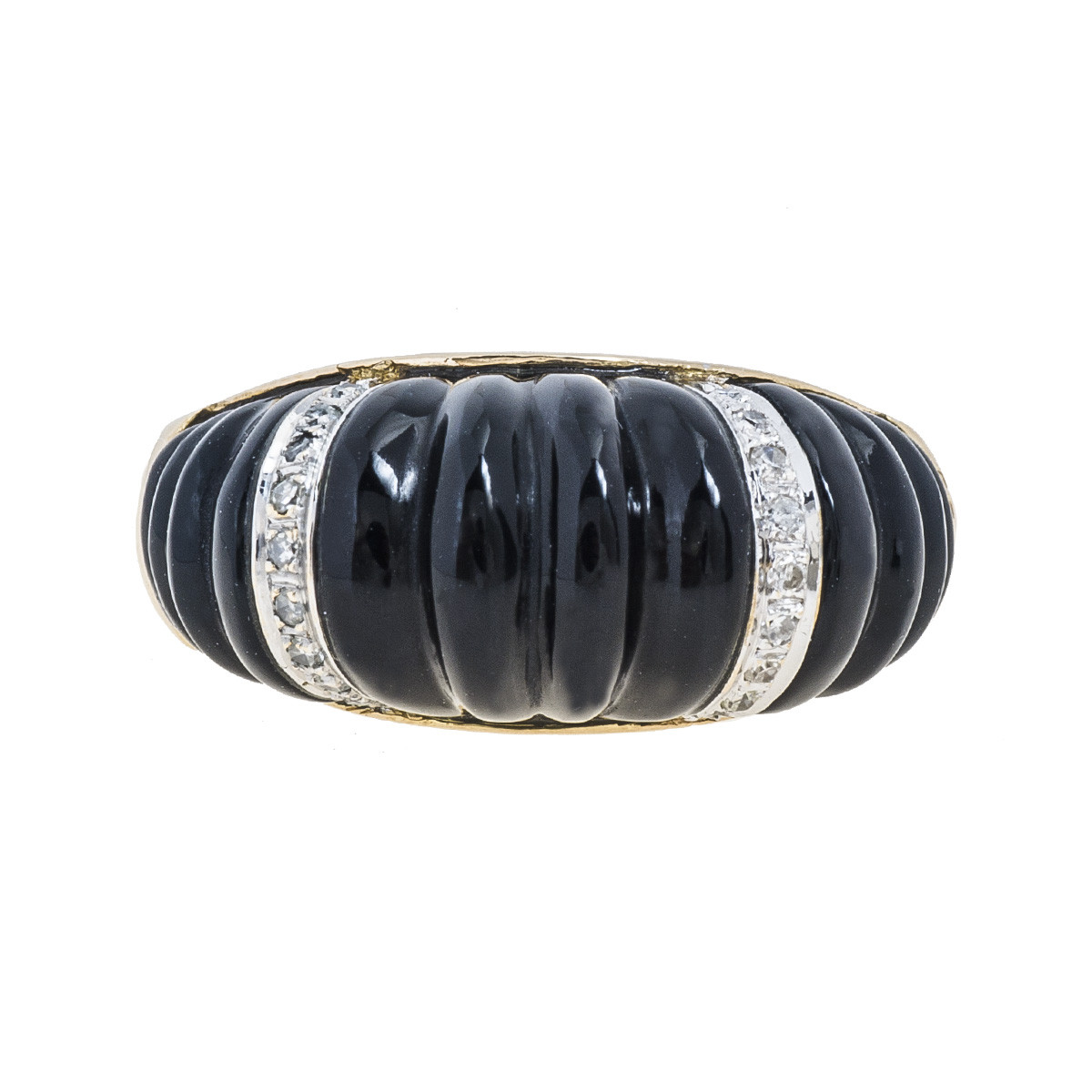 Vintage 0.09 CTW Diamond & Black Onyx Ring