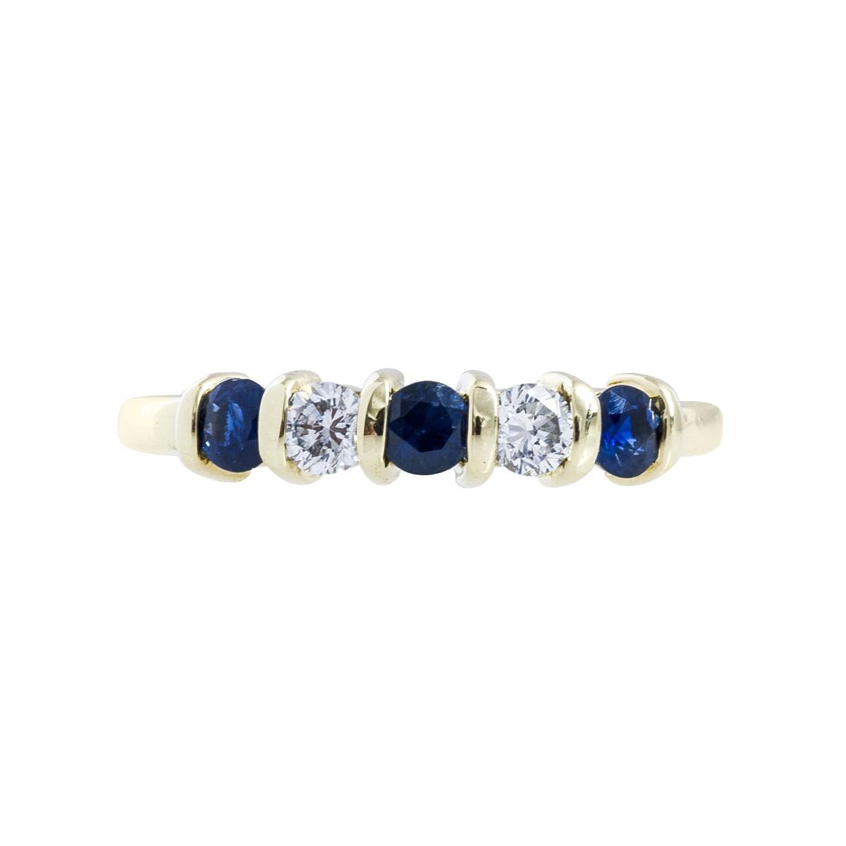 Vintage 0.50 CTW Diamond & Blue Sapphire Anniversary Band