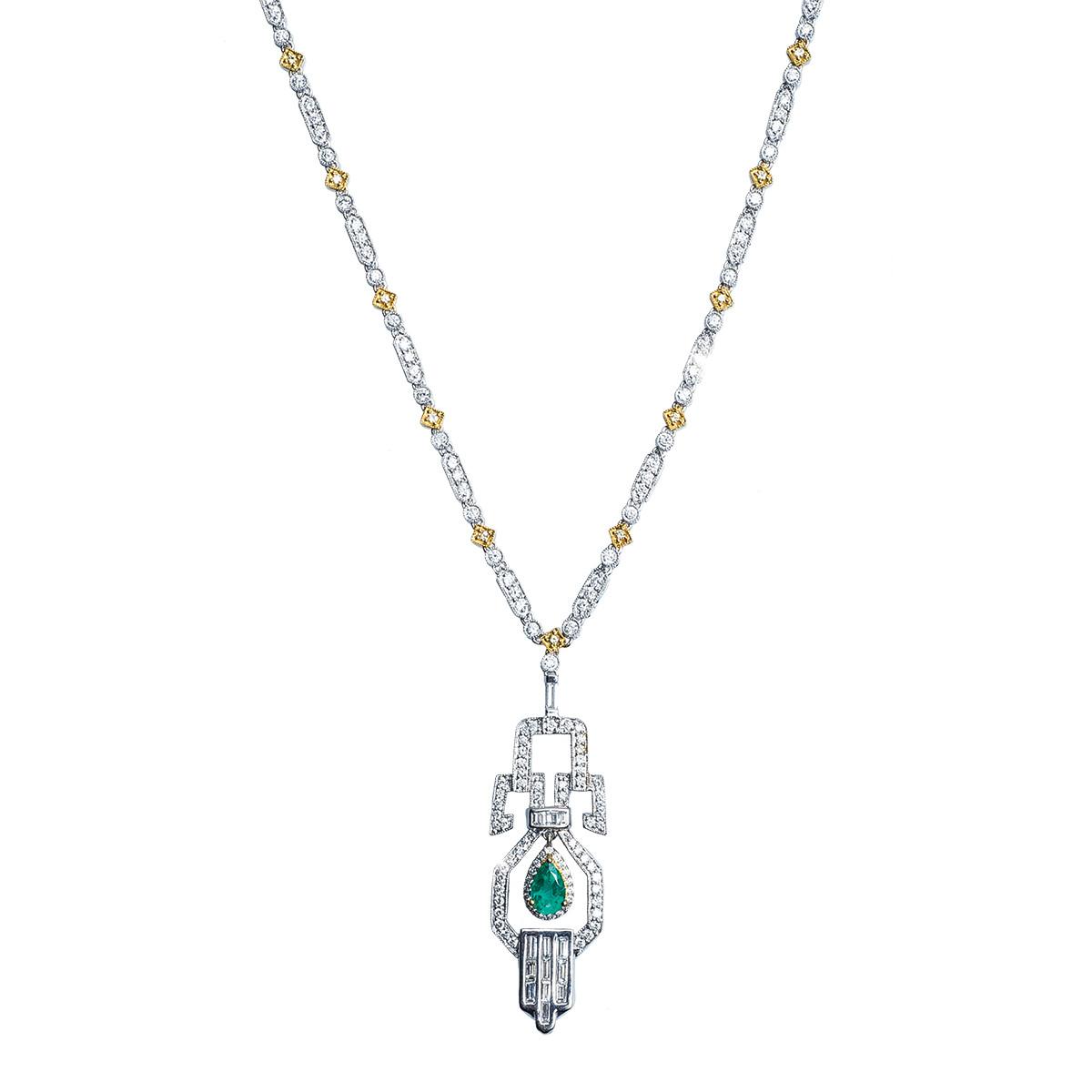 Vintage Art Deco-Inspired 3.40 CTW Emerald, White & Yellow Diamond Necklace