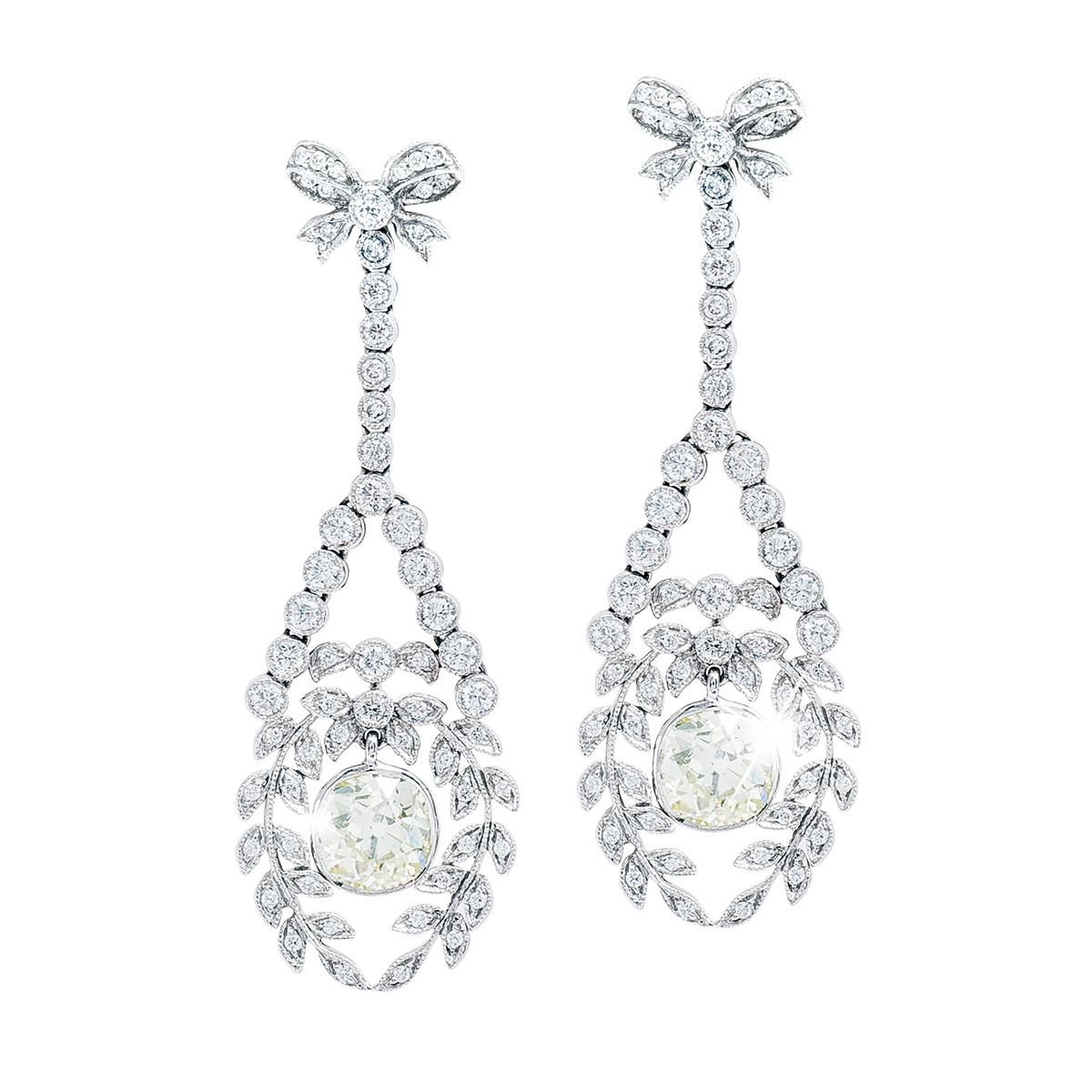 Vintage 5.20 CTW Diamond Drop Earrings