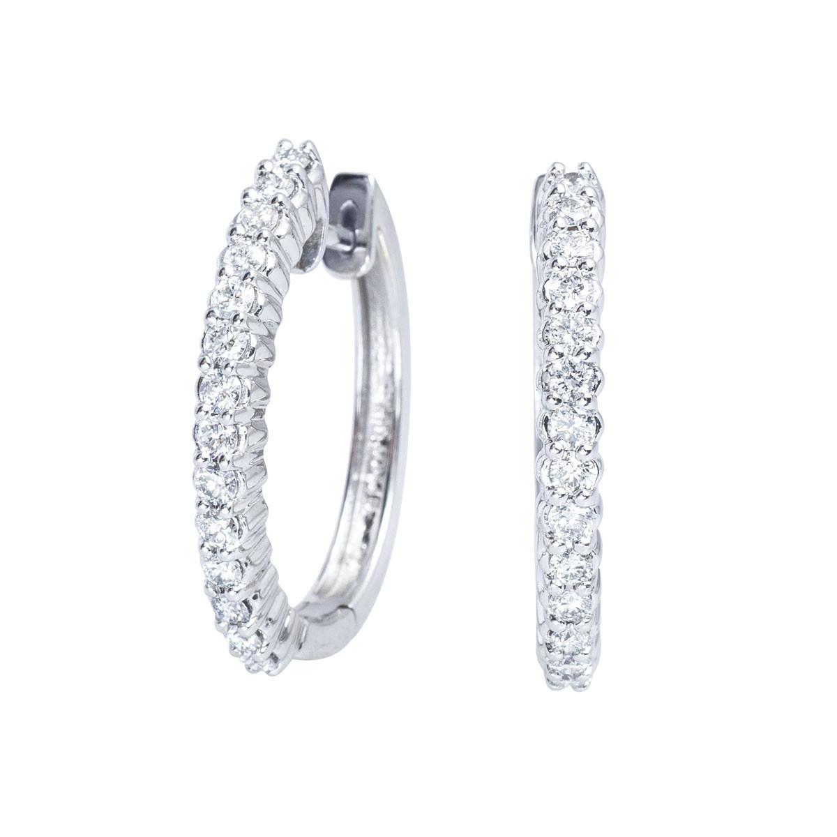 Vintage Sonia B. 1.00 CTW Diamond Hoop Earrings