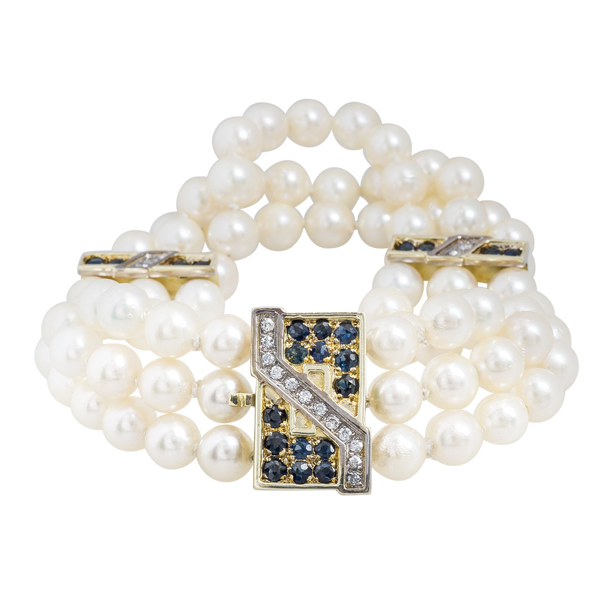 Vintage 1.34 CTW Diamond, Blue Sapphire & Pearl Bracelet