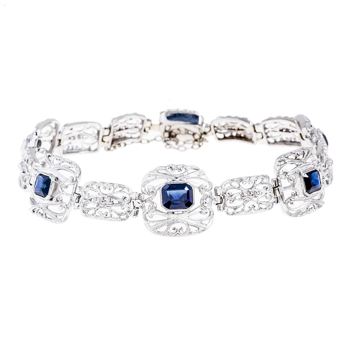 Antique 2.00 CTW Blue Sapphire Bracelet