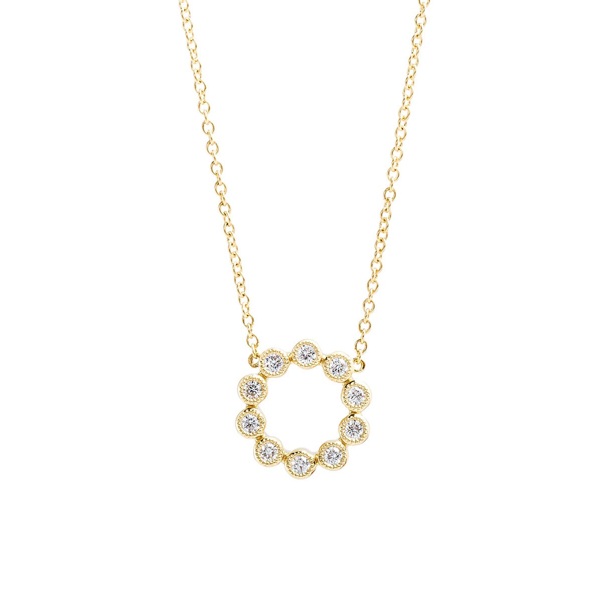 New Mémoire 0.20 CTW Diamond Small Bubble Circle Necklace