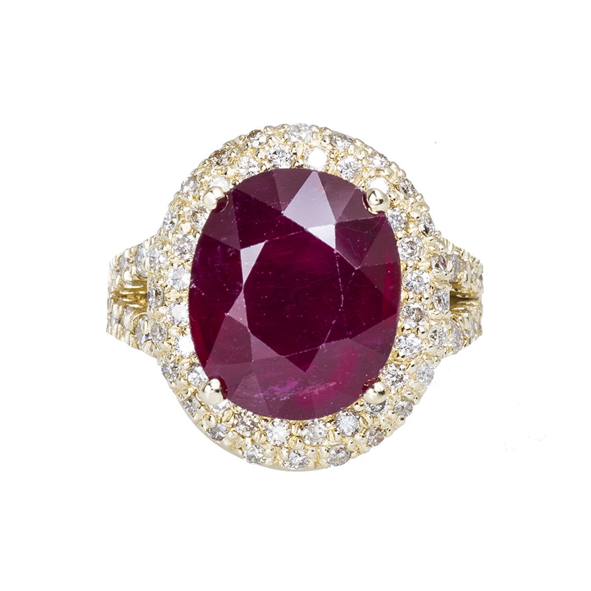 Vintage 8.84 CTW Ruby & Diamond Halo Ring