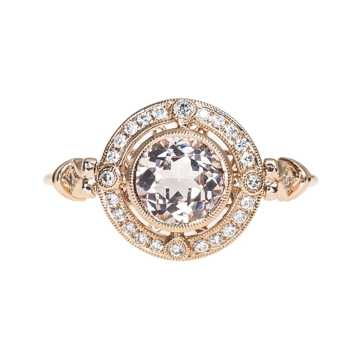New Beverley K 1.07 CTW Morganite & Diamond Halo Ring
