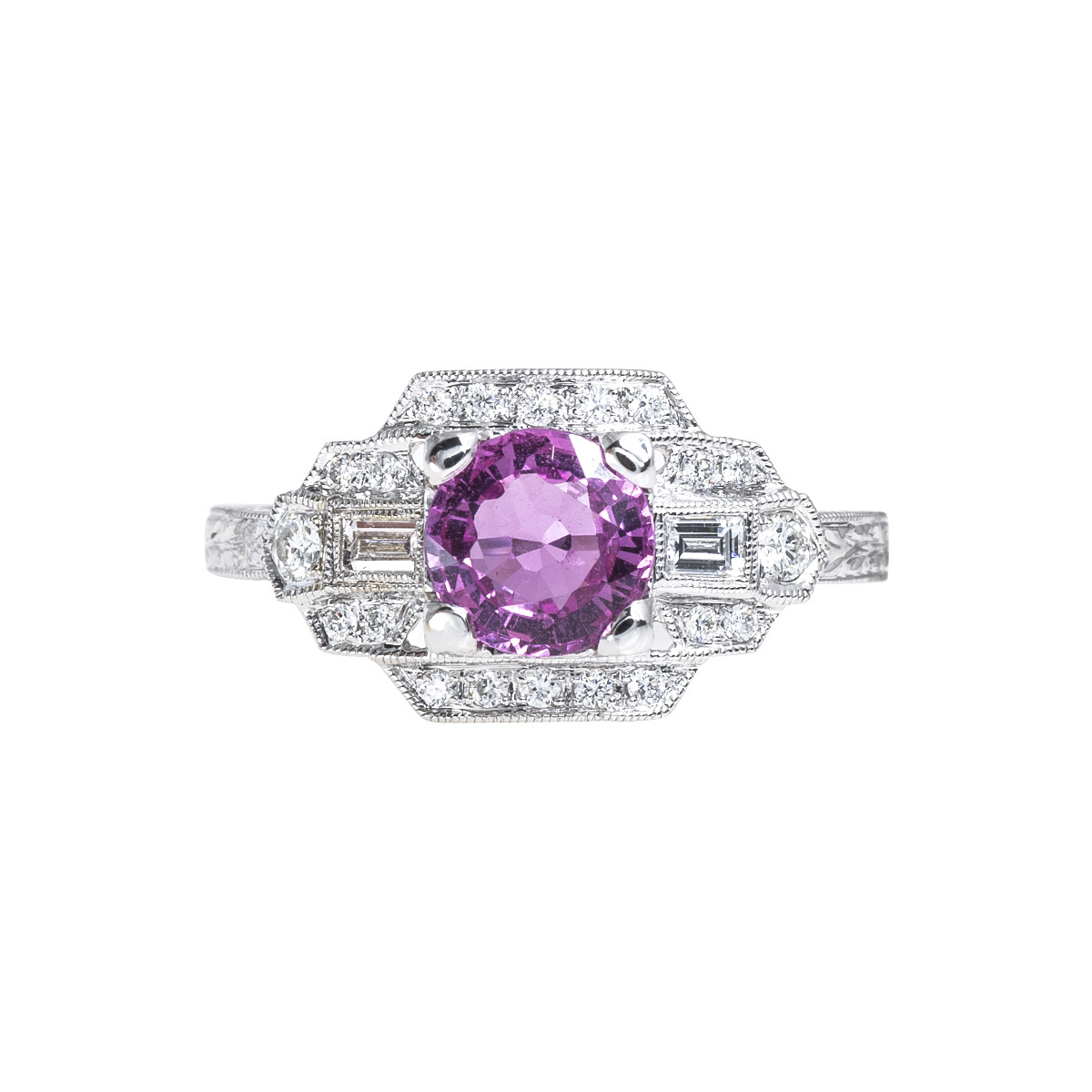 New Beverley K Art Deco-Inspired 1.47 CTW Pink Sapphire & Diamond Engagement Ring