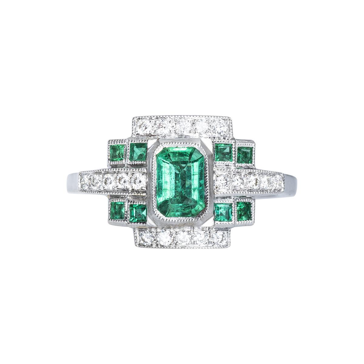 New Beverley K Art Deco-Inspired 0.99 CTW Emerald & Diamond Ring