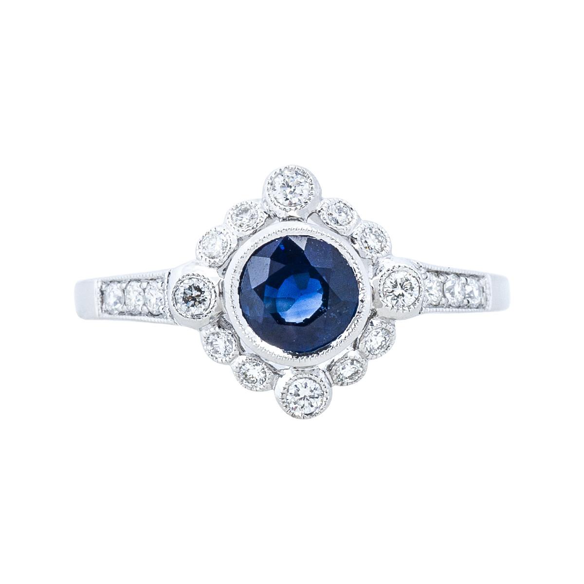 New Beverley K 0.89 CTW Blue Sapphire & Diamond Ring