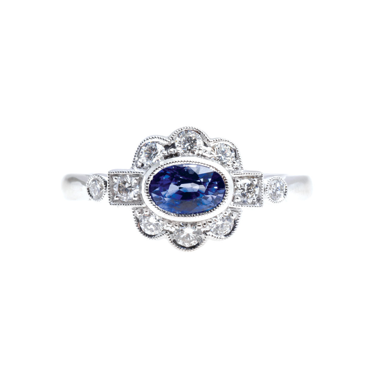 New Beverley K 0.98 CTW Blue Sapphire & Diamond Halo Ring