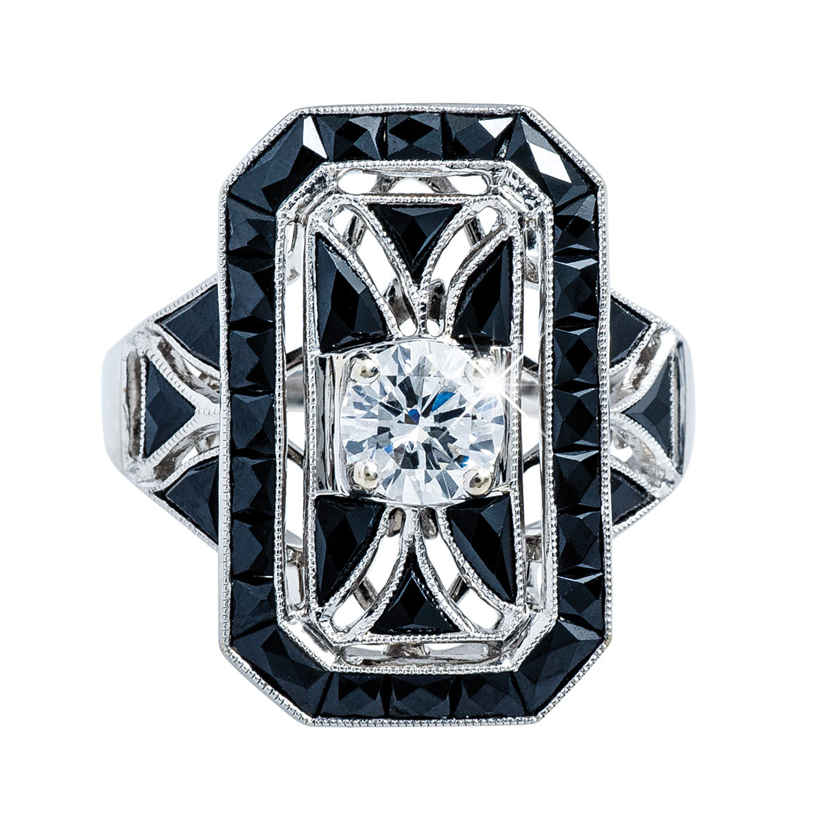 New Beverley K 3.81 CTW Diamond & Onyx Ring