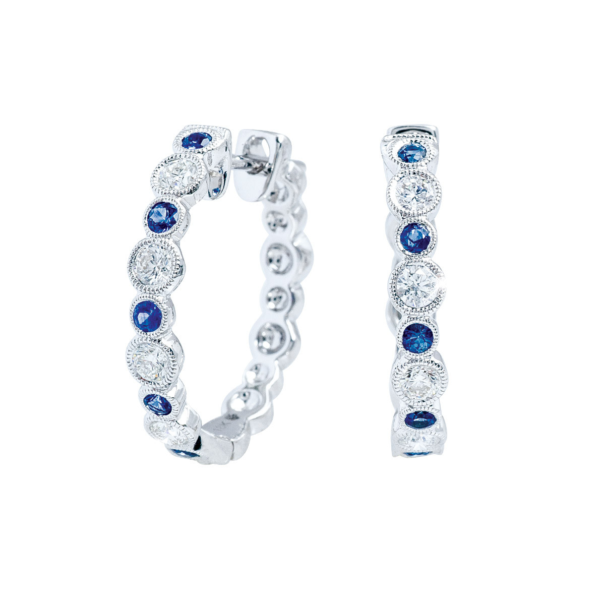 New Beverley K 0.70 CTW Diamond & Blue Sapphire Hoop Earrings