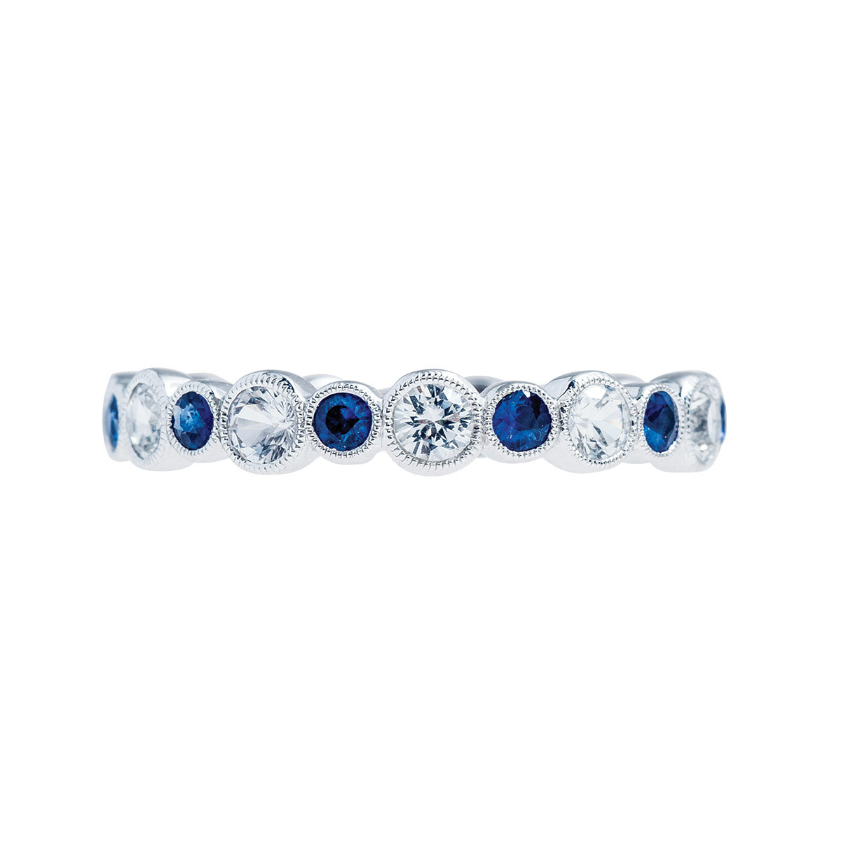 New Beverley K 1.26 CTW White & Blue Sapphire Eternity Band