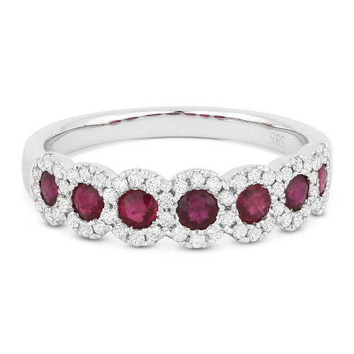 New Madison L 0.93 CTW Diamond and Ruby Anniversary Band