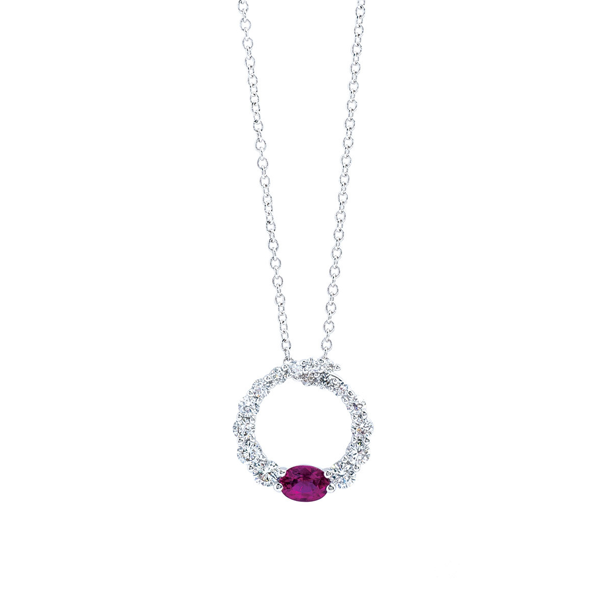 New Madison L 0.54 CTW Diamond & Ruby Circle Necklace