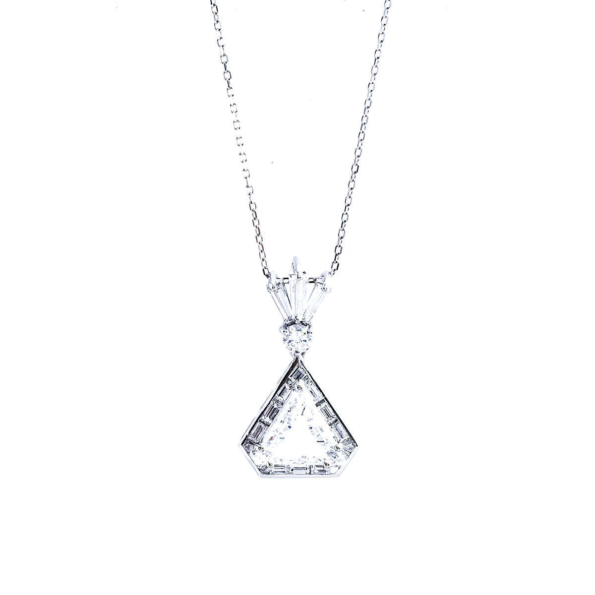 Vintage 1.67 CTW Diamond Triangular Halo Pendant