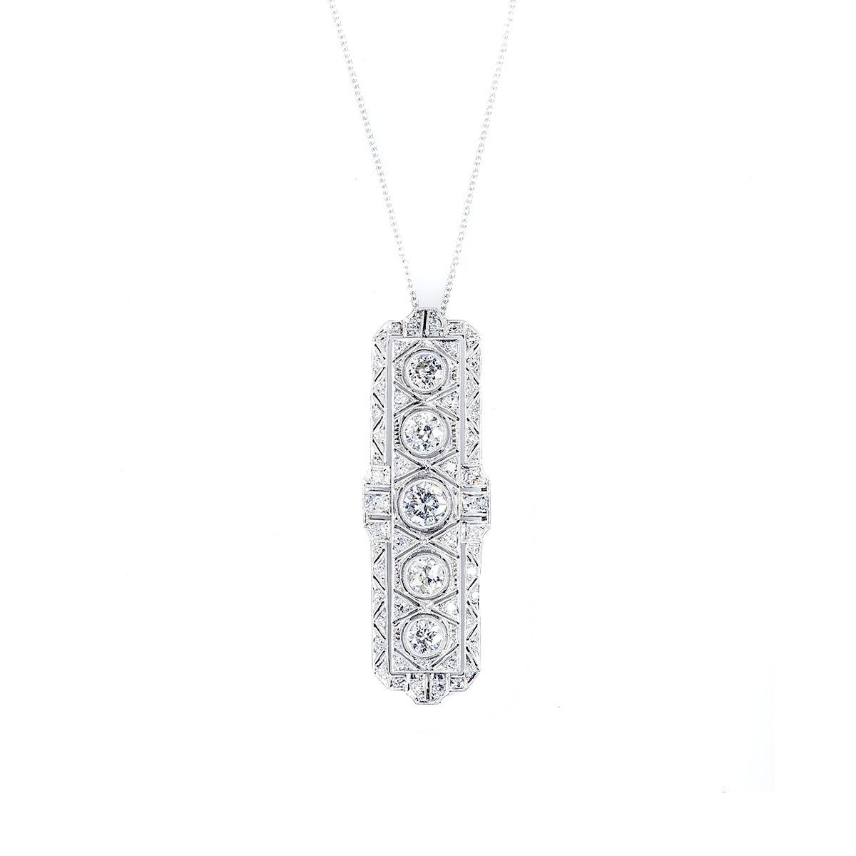 Antique Art Deco 2.50 CTW Diamond Necklace