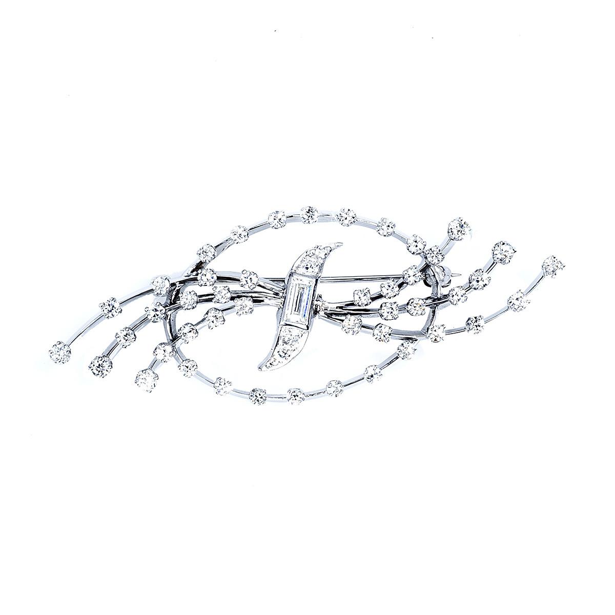 Vintage 1.73 CTW Diamond Ribbon Brooch