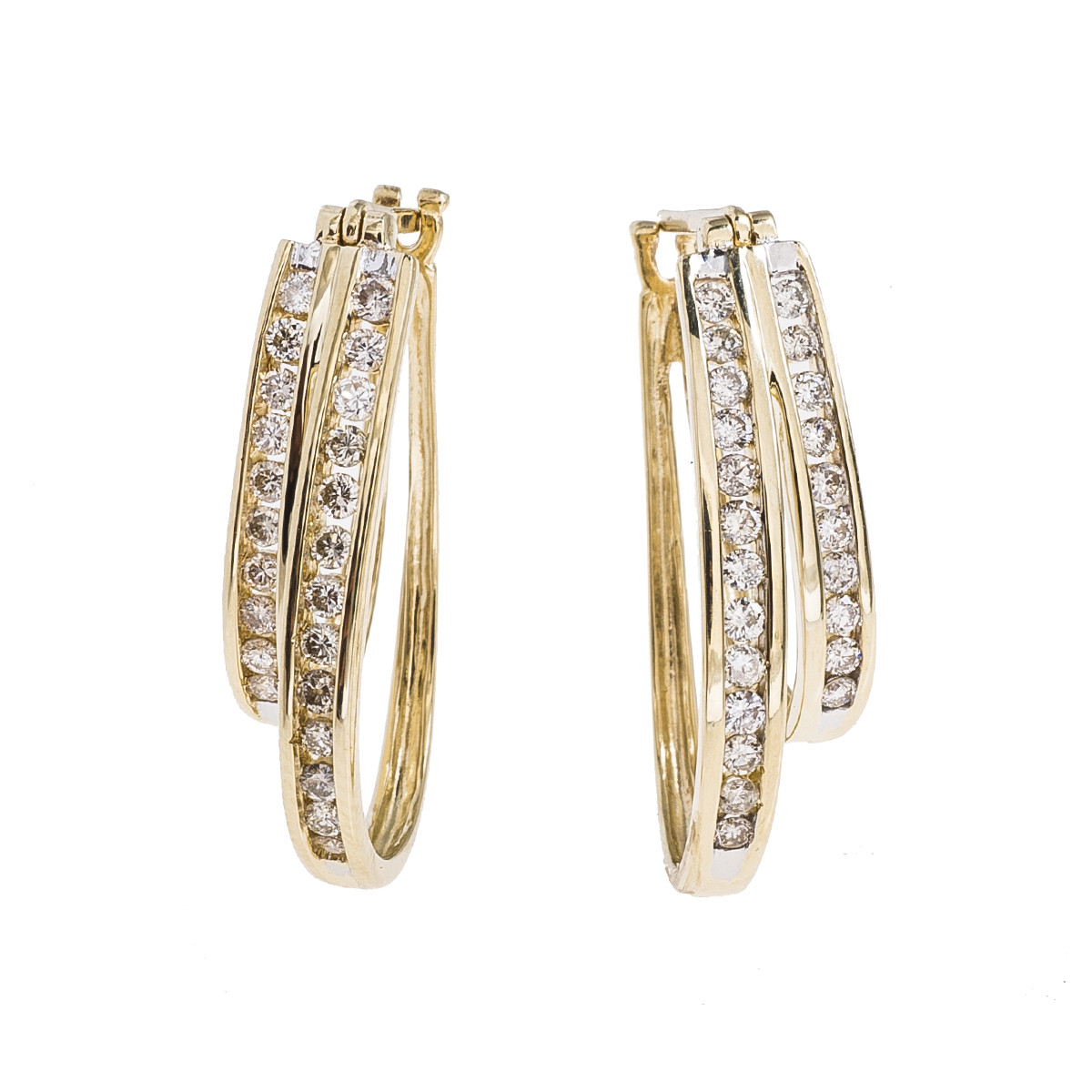 Vintage 1.35 CTW Diamond Double Hoop Earrings
