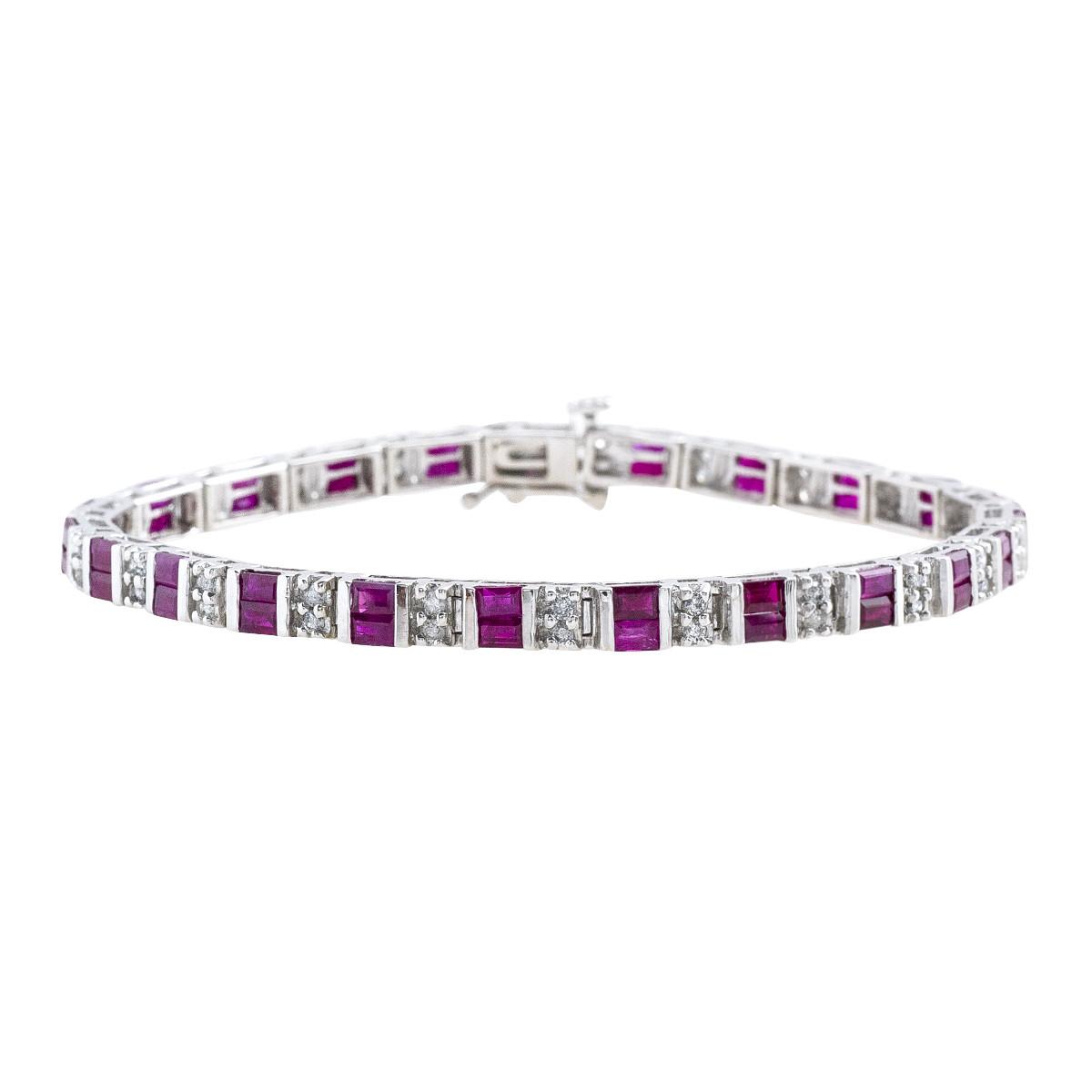 Vintage 3.70 CTW Ruby & Diamond Bracelet