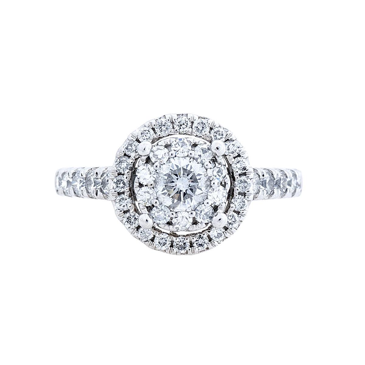 Vintage 0.86 CTW Diamond Double Halo Engagement Ring