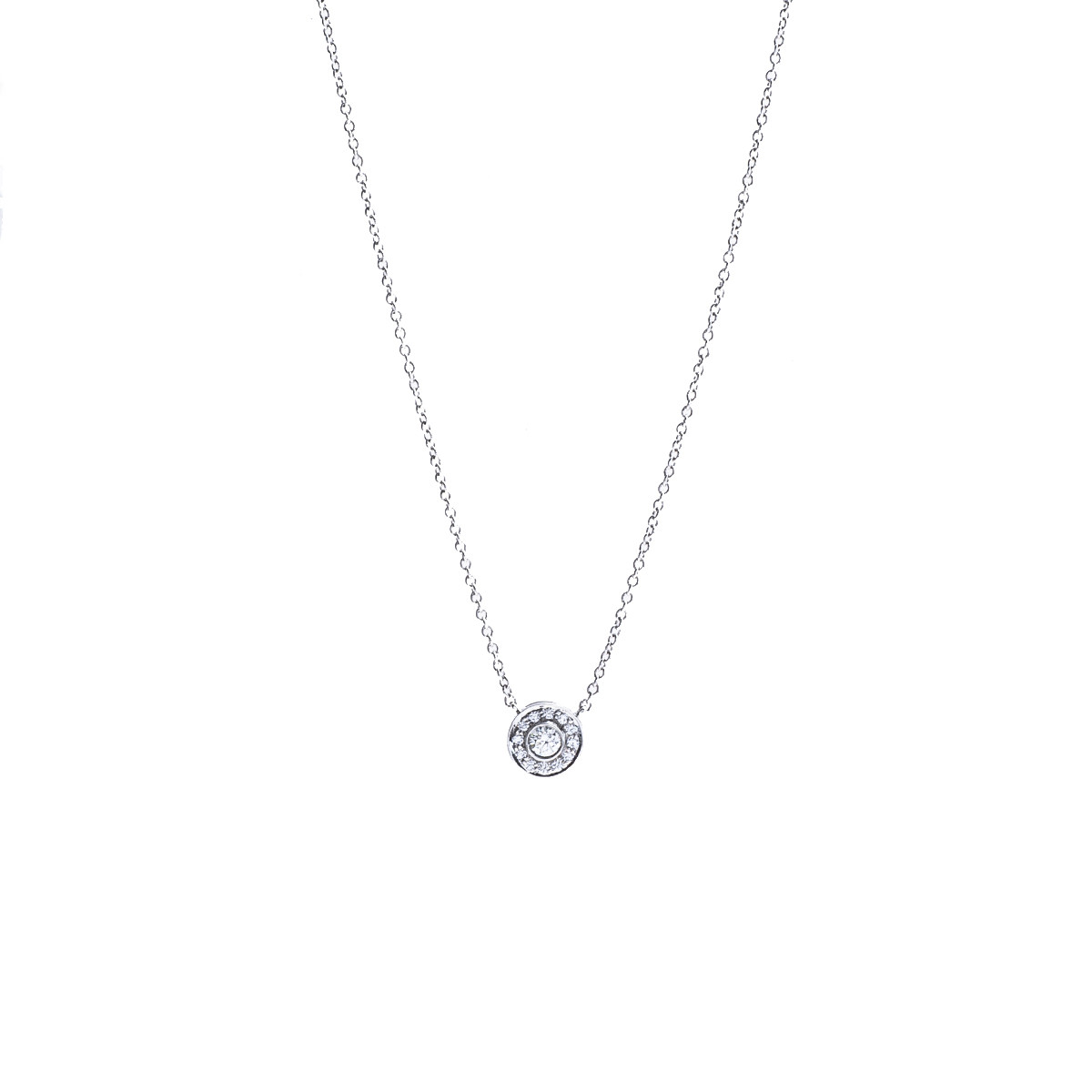 eed1e2392 Vintage Tiffany & Co. 0.26 CTW Diamond Halo Pendant Gallery Image