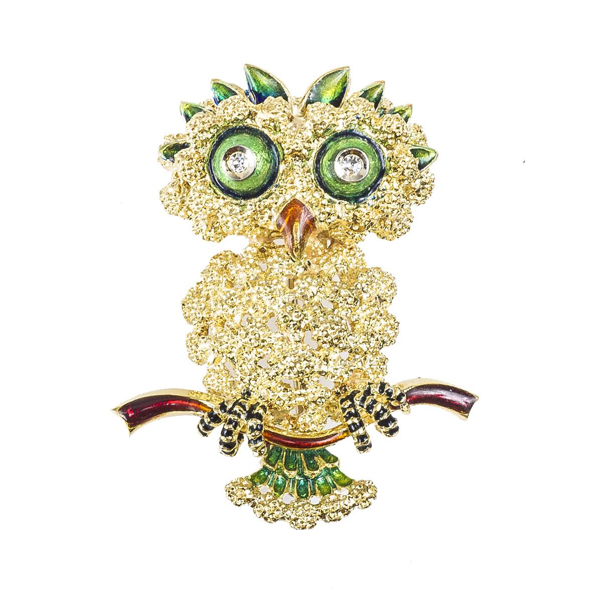 Vintage 0.06 CTW Diamond & Enamel Owl Brooch