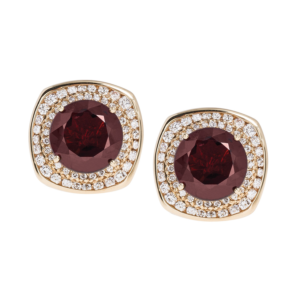 Vintage 20.85 CTW Garnet & Diamond Halo Earrings