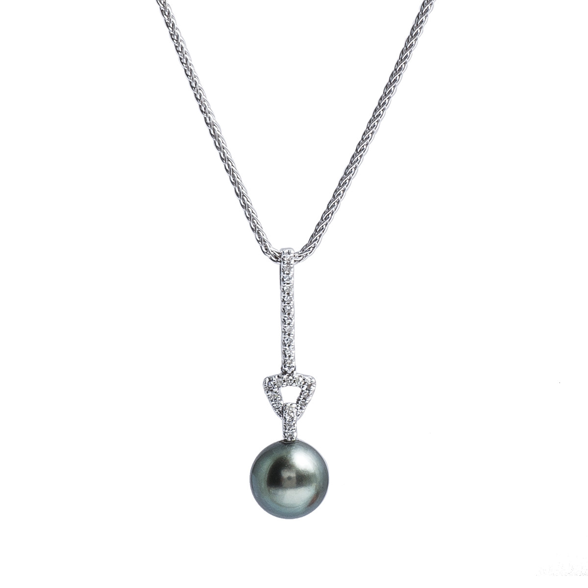 Vintage 0.12 CTW Diamond & Tahitian Cultured Pearl Necklace