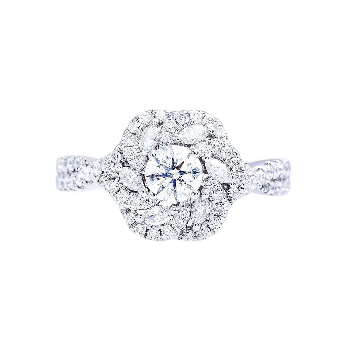Vintage Vera Wang Love Collection 1 16 Ctw Diamond Sapphire Flower