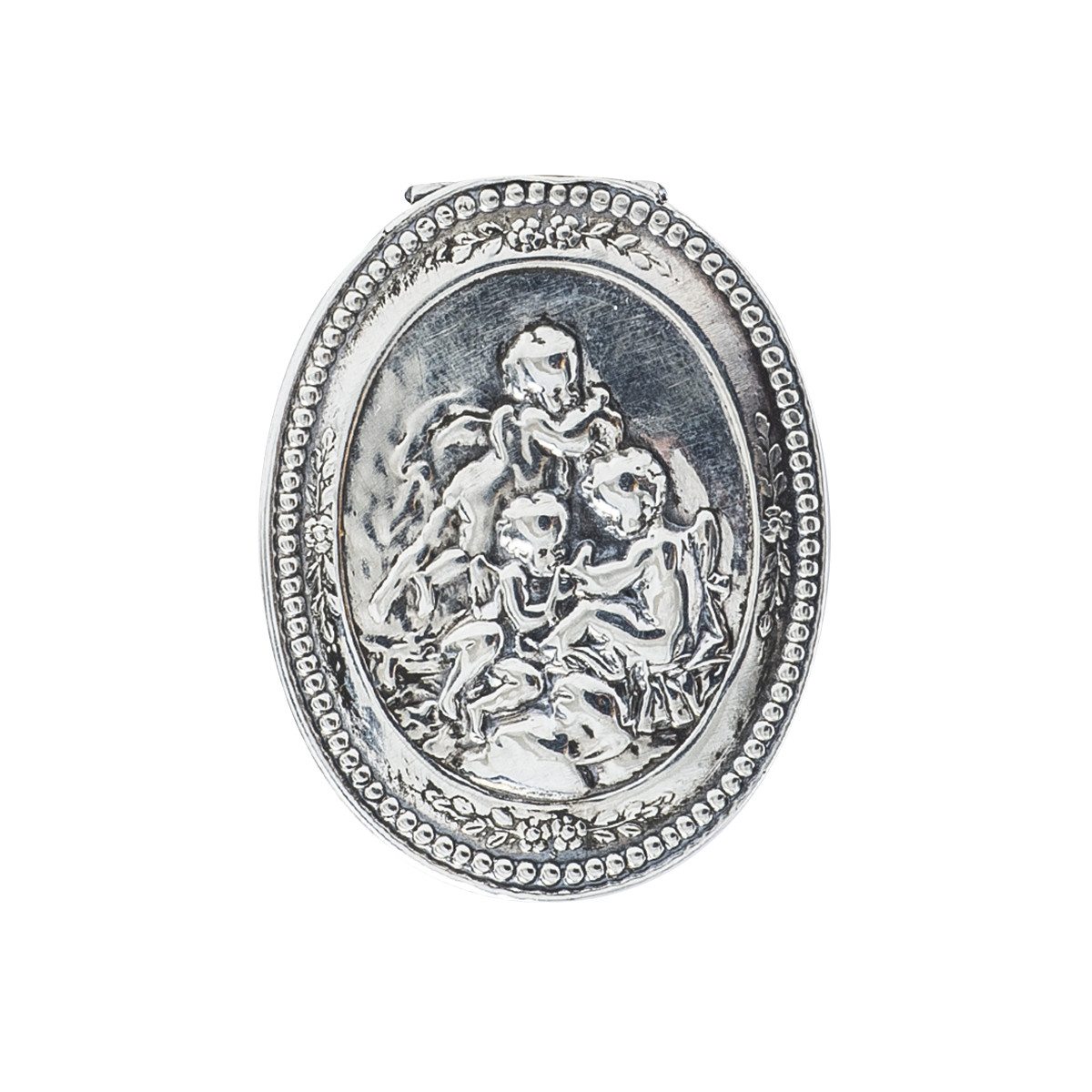 Antique Repousse Cherub Pill Box