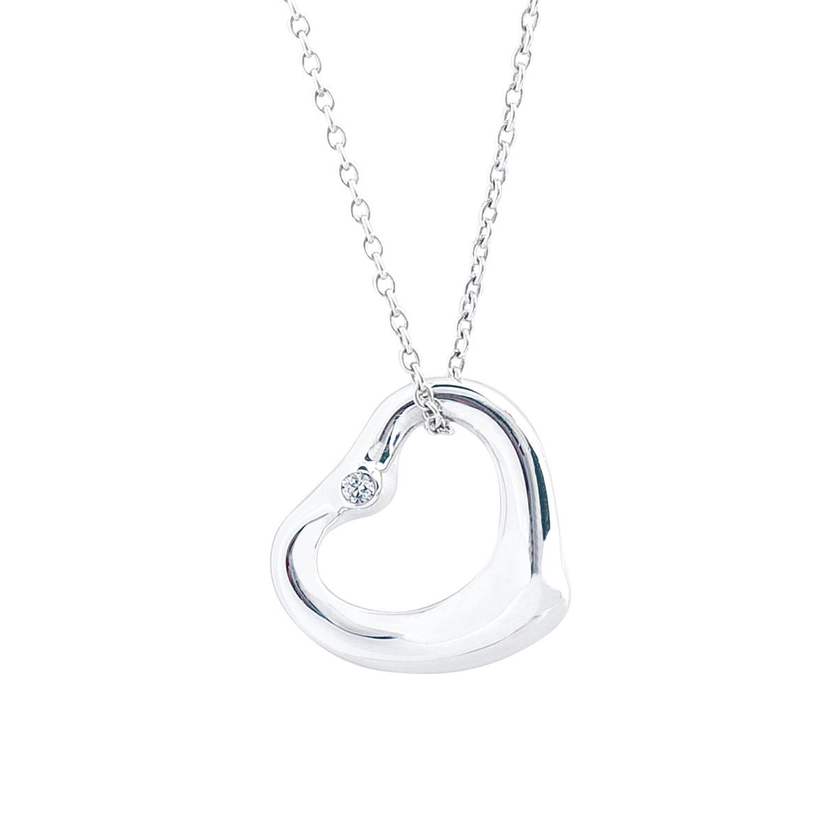 a5a74cd51 Vintage Tiffany & Co. Elsa Peretti Open Heart Diamond Pendant Gallery Image