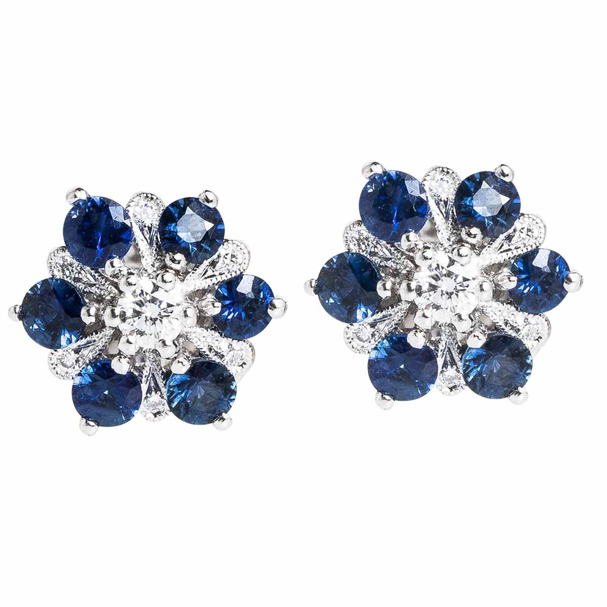 New Beverley K 0.71 CTW Blue Sapphire & Diamond Flower Stud Earrings