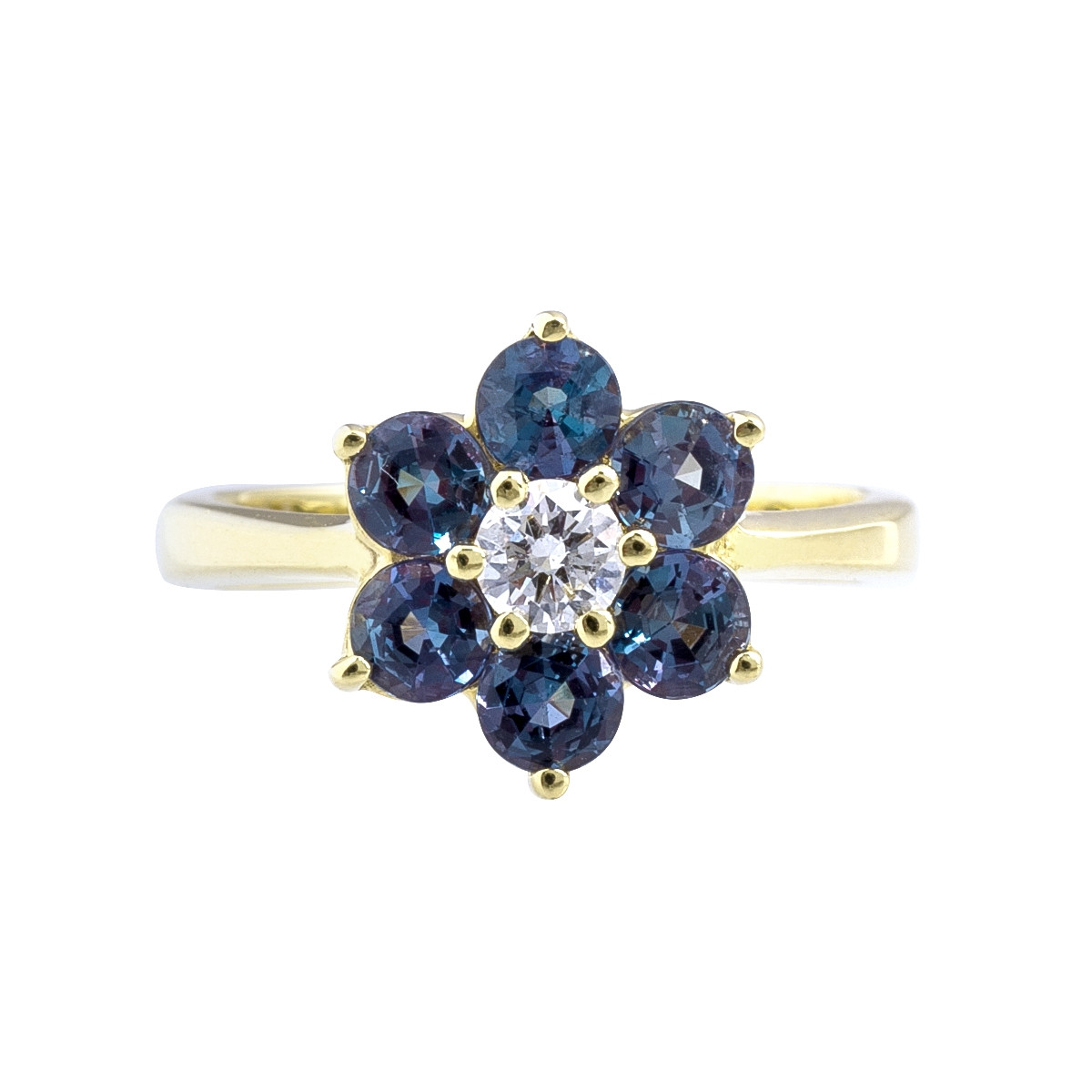 0f8e11eaa Vintage Mark Henry 1.17 CTW Diamond & Alexandrite Flower Ring Gallery Image